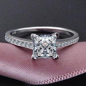 Princess Cut 925 Silver Women Wedding Band Ring